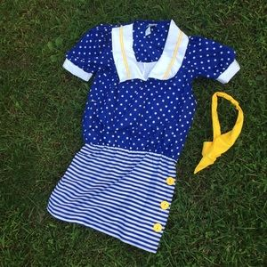 Vintage 80s sailor dress girls Sz 10
